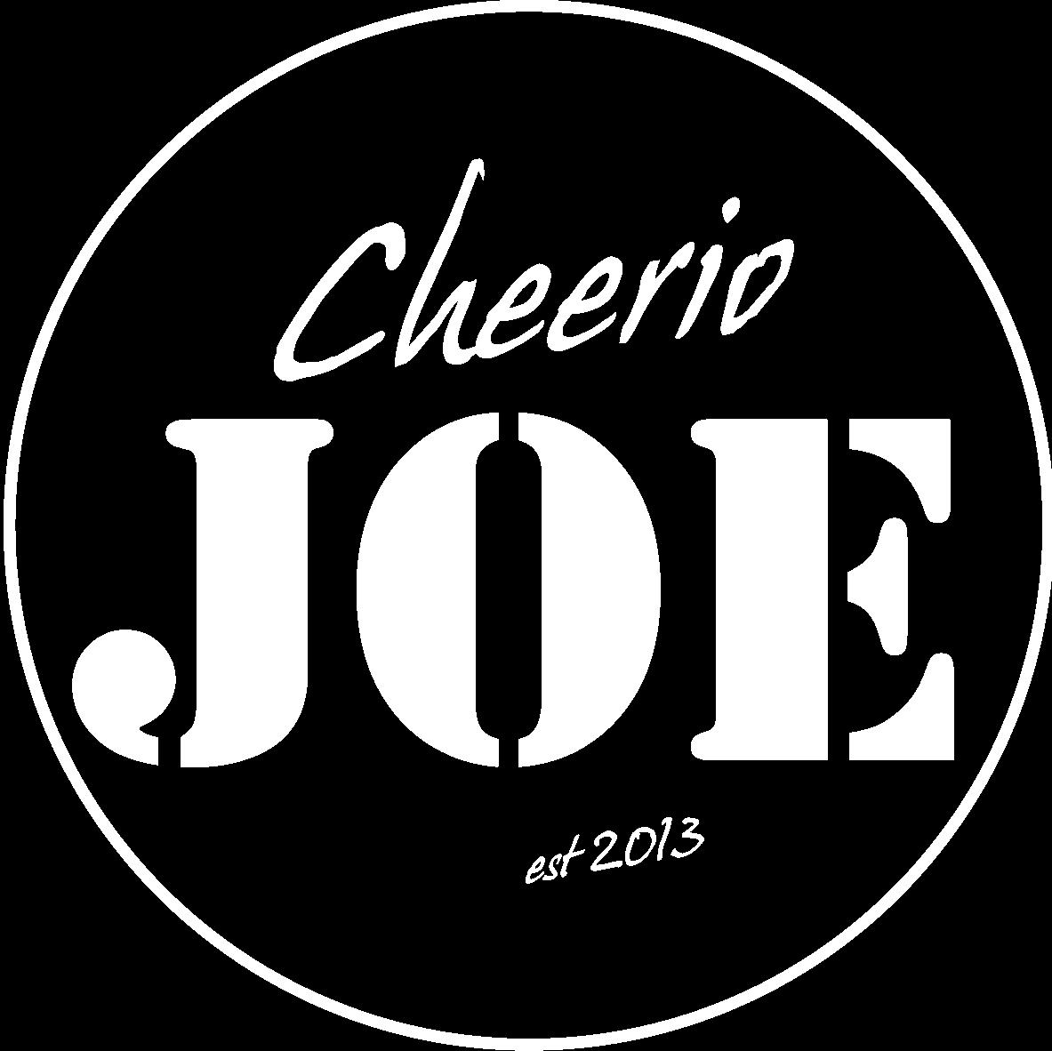 Cheerio Joe Bandlogo weiß mit Kreis